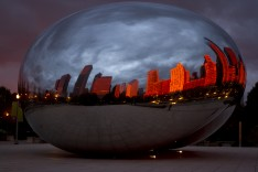 Chicago's Cloud Gate (the Bean) during a magical sunrise.