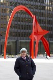 Alexander Calder's Flamingo stabile in Chicago, with my friend Beth