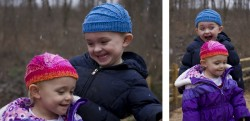 kids in quick easy knit hats