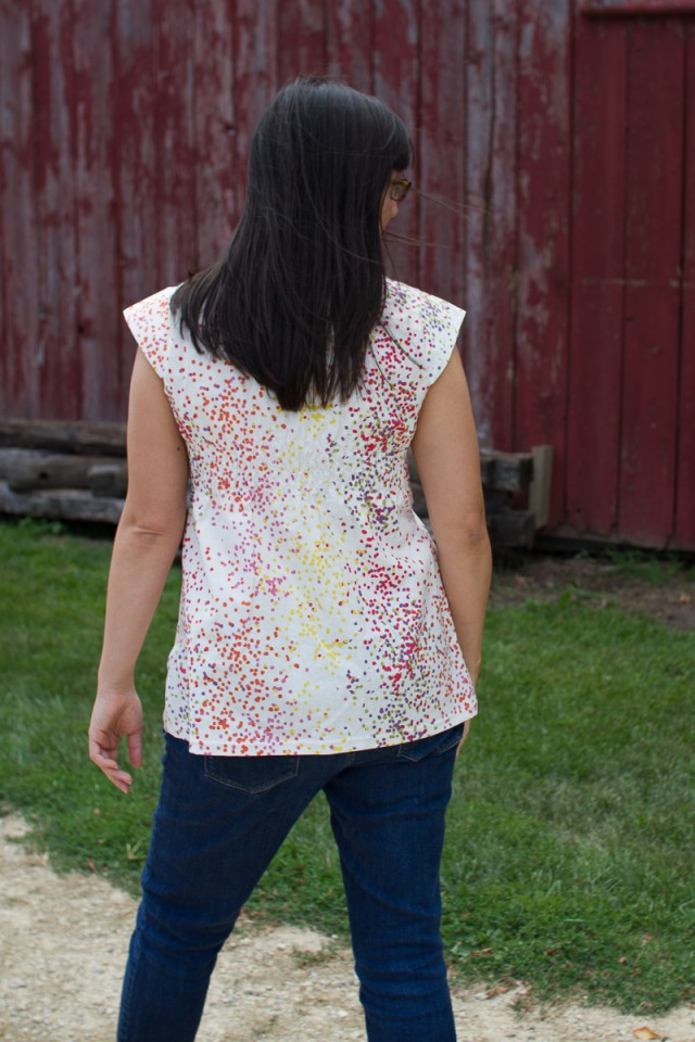 cotton washi tunic from the back