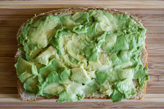 1. spread avocado on a slice of oatnut bread