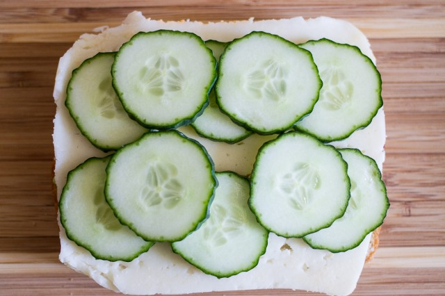 4. now a layer of cucumber slices