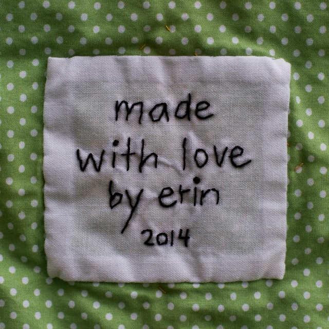 simple handwritten quilt label