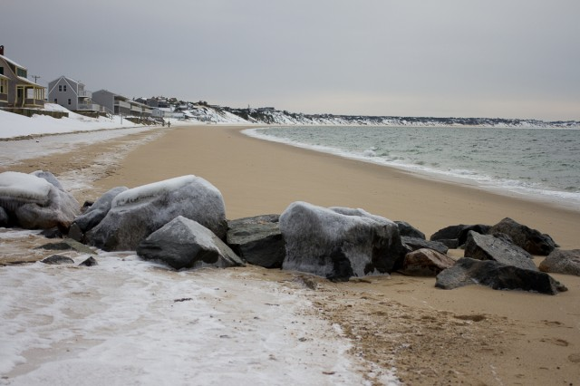frozen cape cod beach